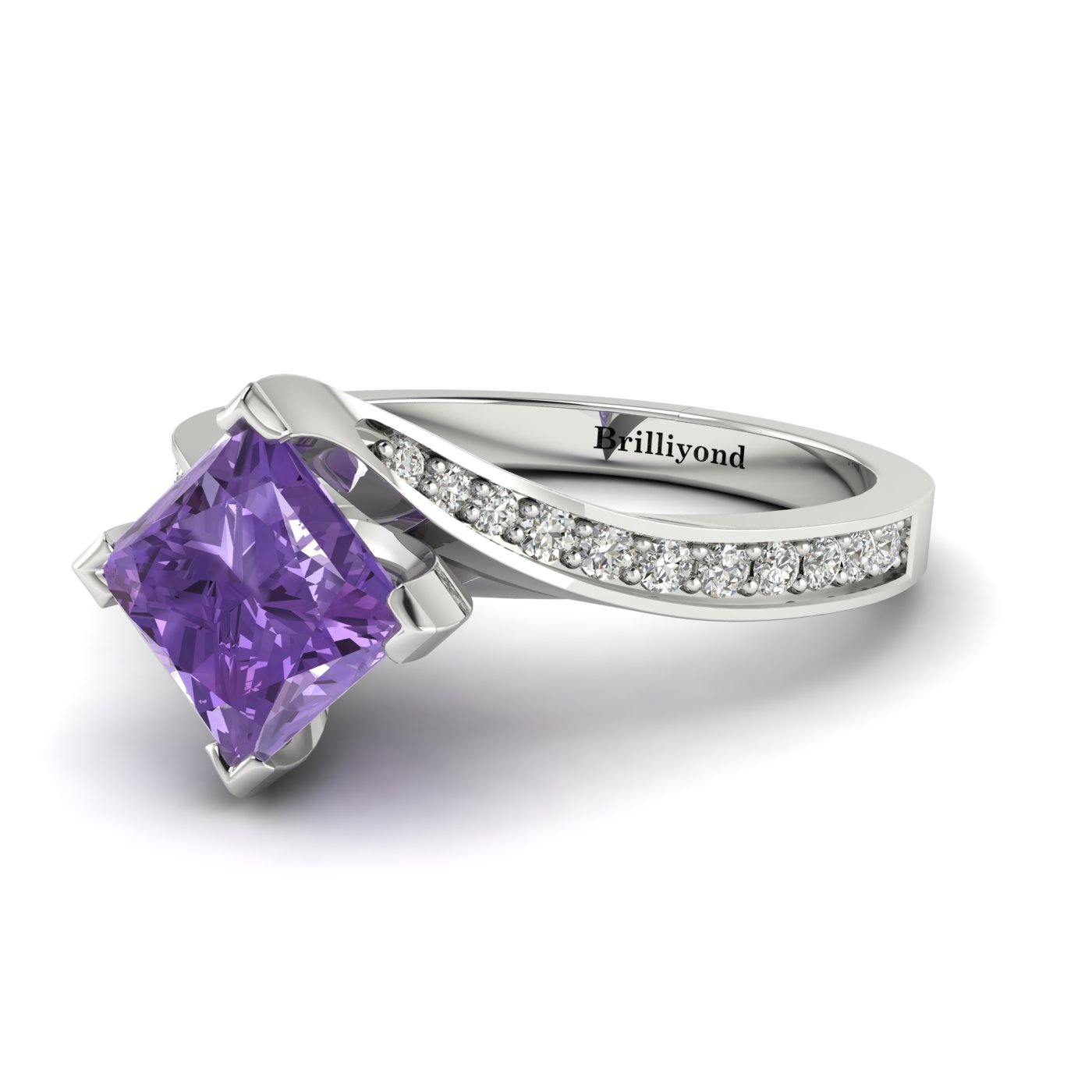 Amethyst White Gold Cushion Cut Engagement Ring Luxy_image1