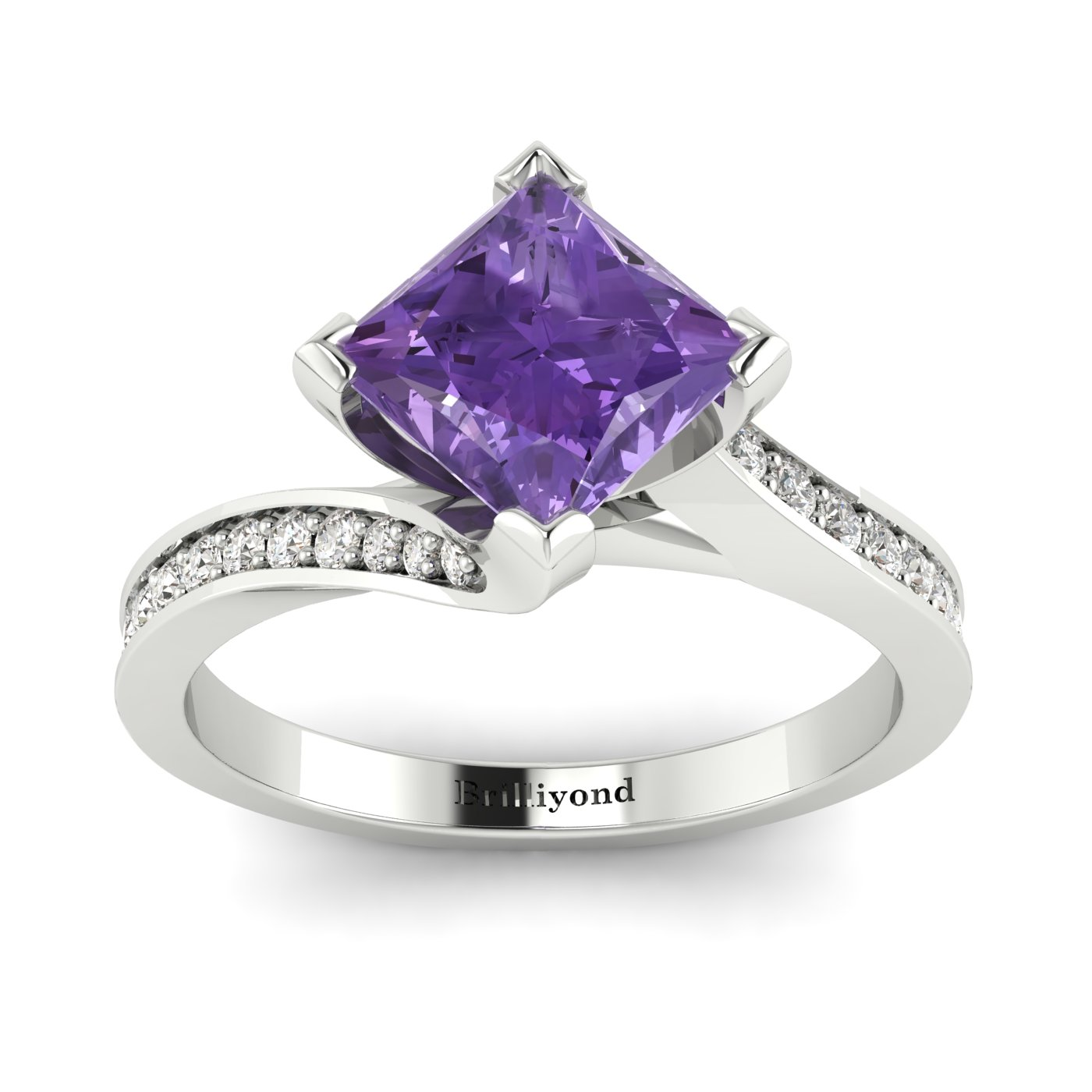 Amethyst White Gold Cushion Cut Engagement Ring Luxy_image2