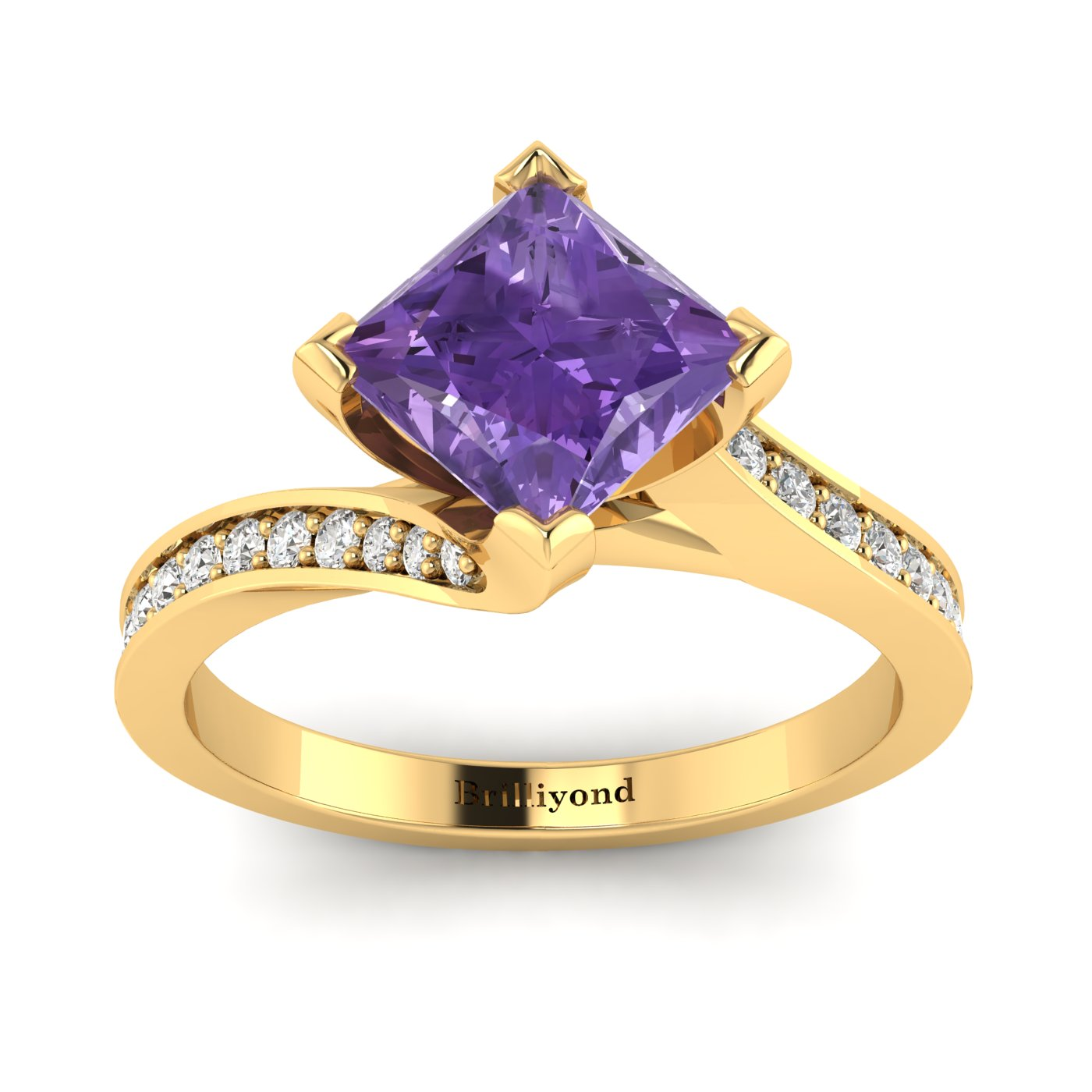 Amethyst Yellow Gold Cushion Cut Engagement Ring Luxy_image2
