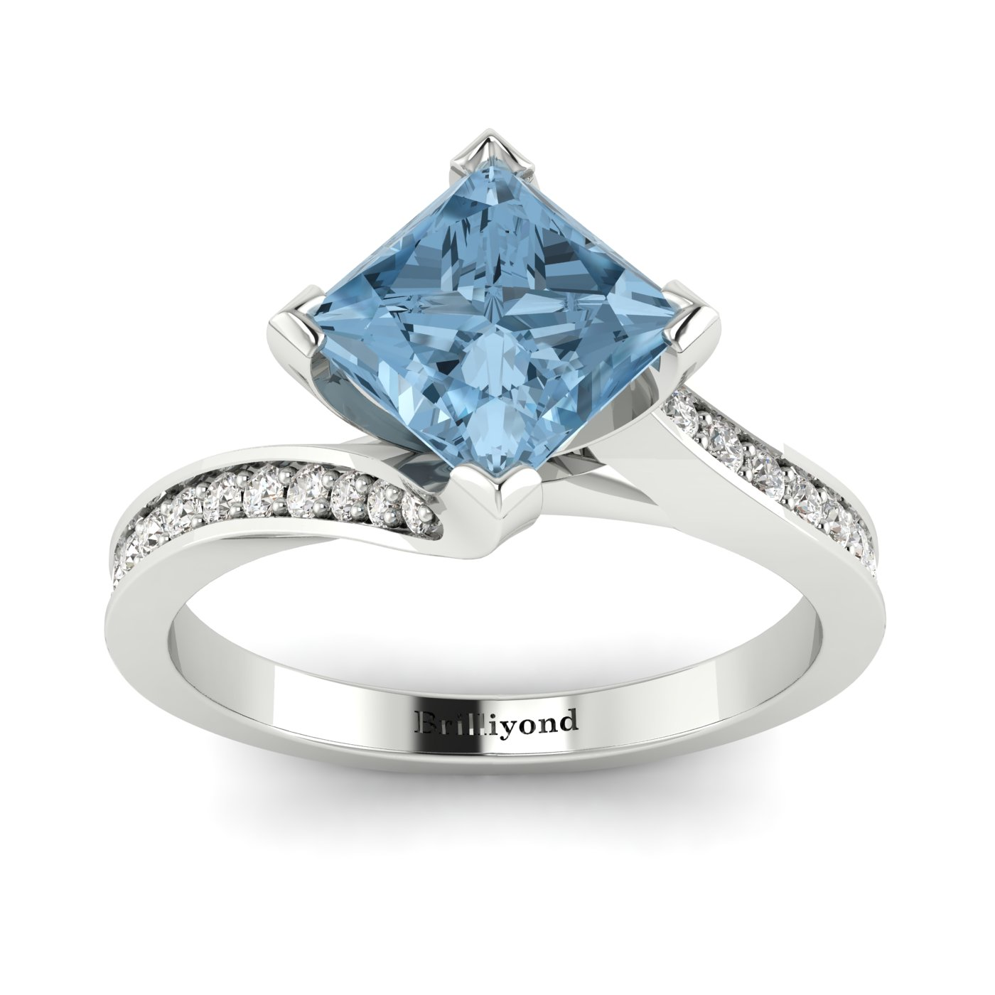 Aquamarine White Gold Cushion Cut Engagement Ring Luxy_image1