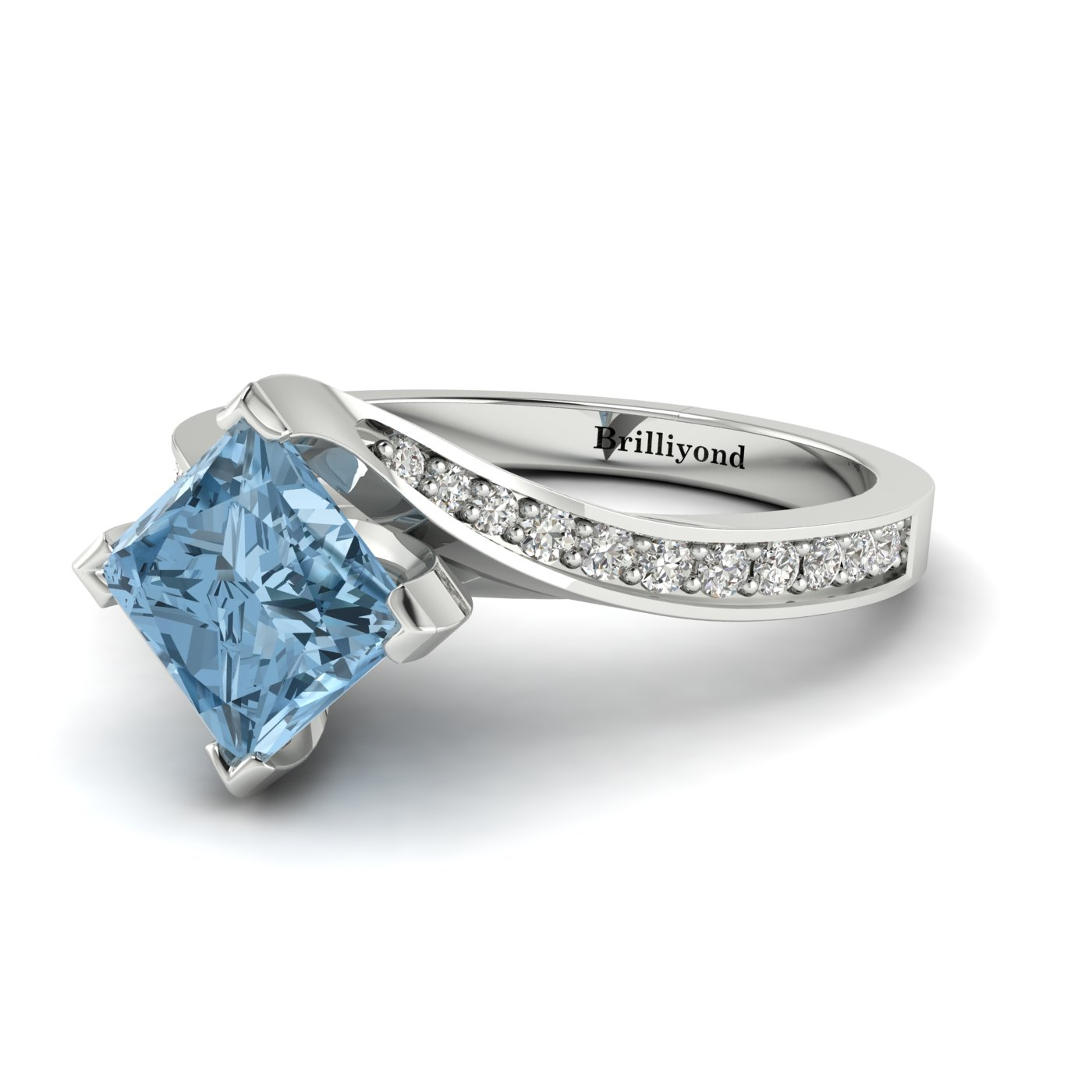 Aquamarine White Gold Cushion Cut Engagement Ring Luxy_image2