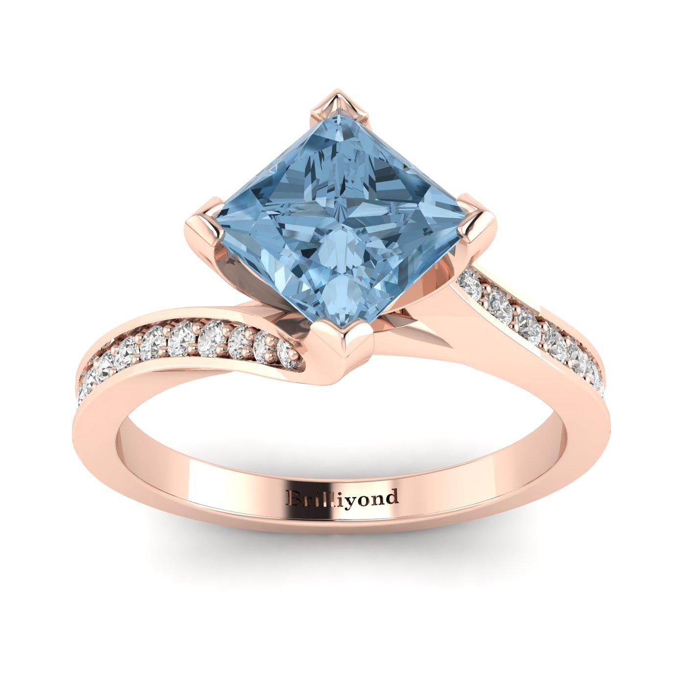 Aquamarine Rose Gold Cushion Cut Engagement Ring Luxy