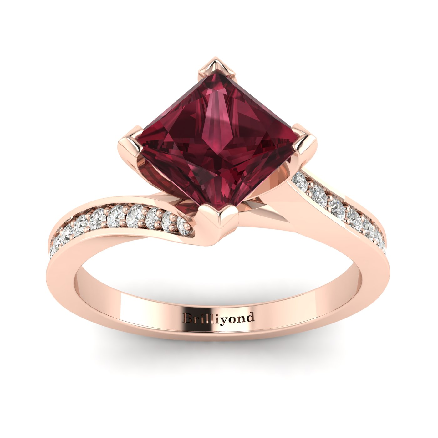 Garnet Rose Gold Cushion Cut Engagement Ring Luxy_image1