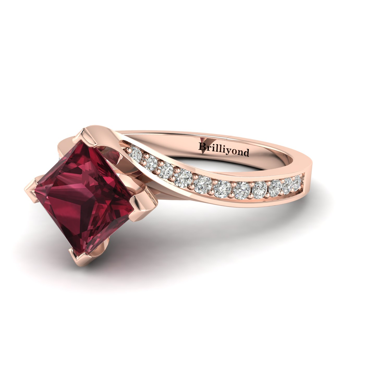 Garnet Rose Gold Cushion Cut Engagement Ring Luxy_image2