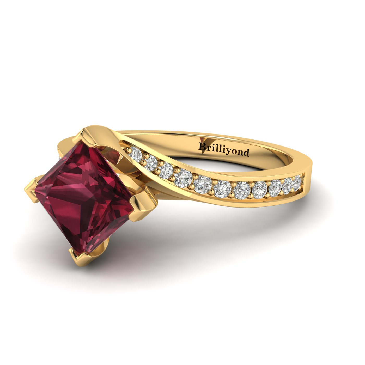 6x6mm Cushion Cut Garnet with CZ Accents on 18k Yellow Gold