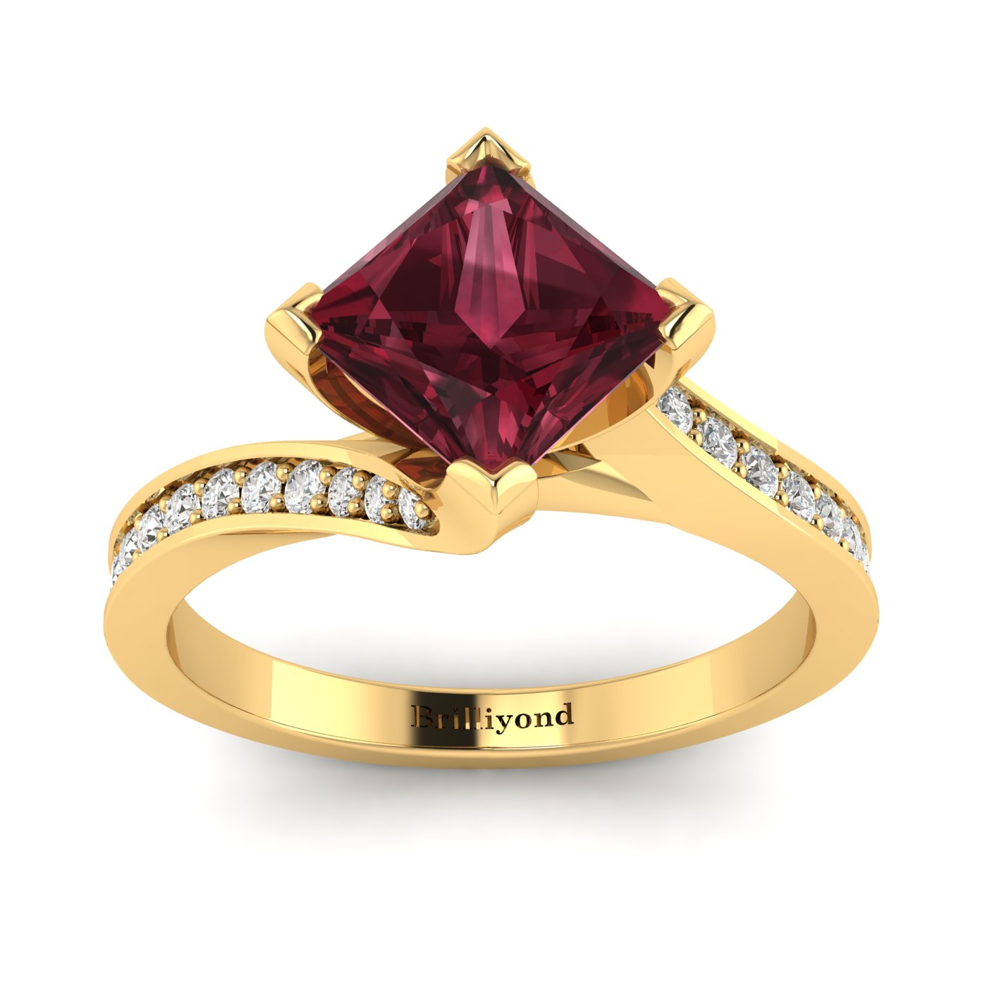 Garnet Cushion Cut Engagement Ring by Brilliyond Australia