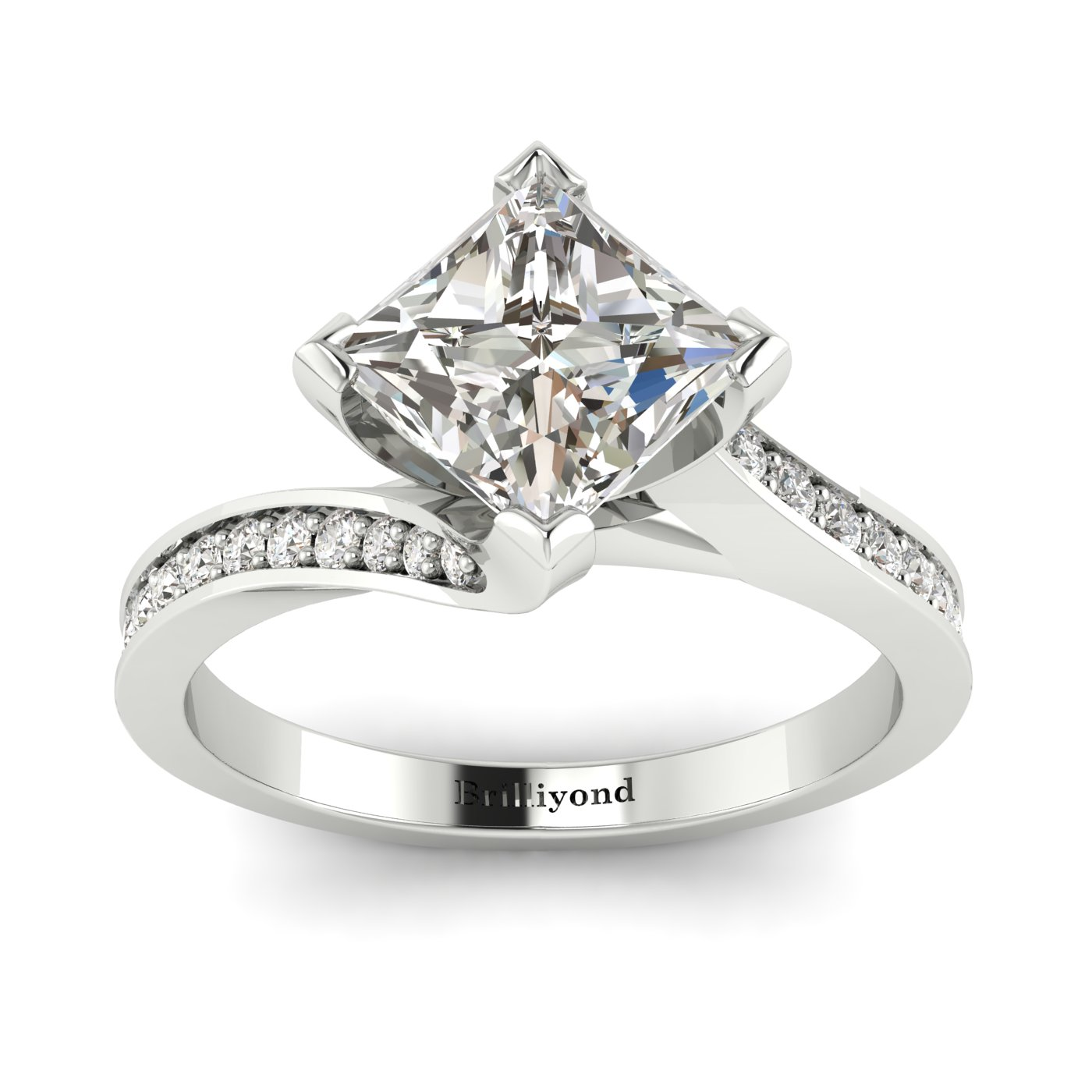 White Sapphire White Gold Cushion Cut Engagement Ring Luxy_image1