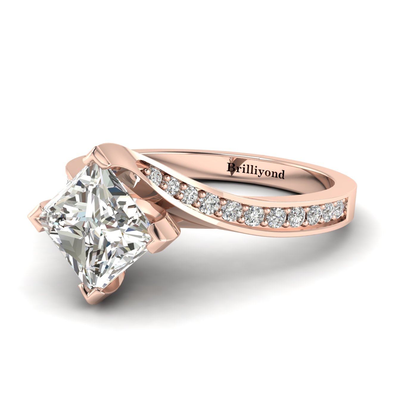 White Sapphire Rose Gold Cushion Cut Engagement Ring Luxy_image1