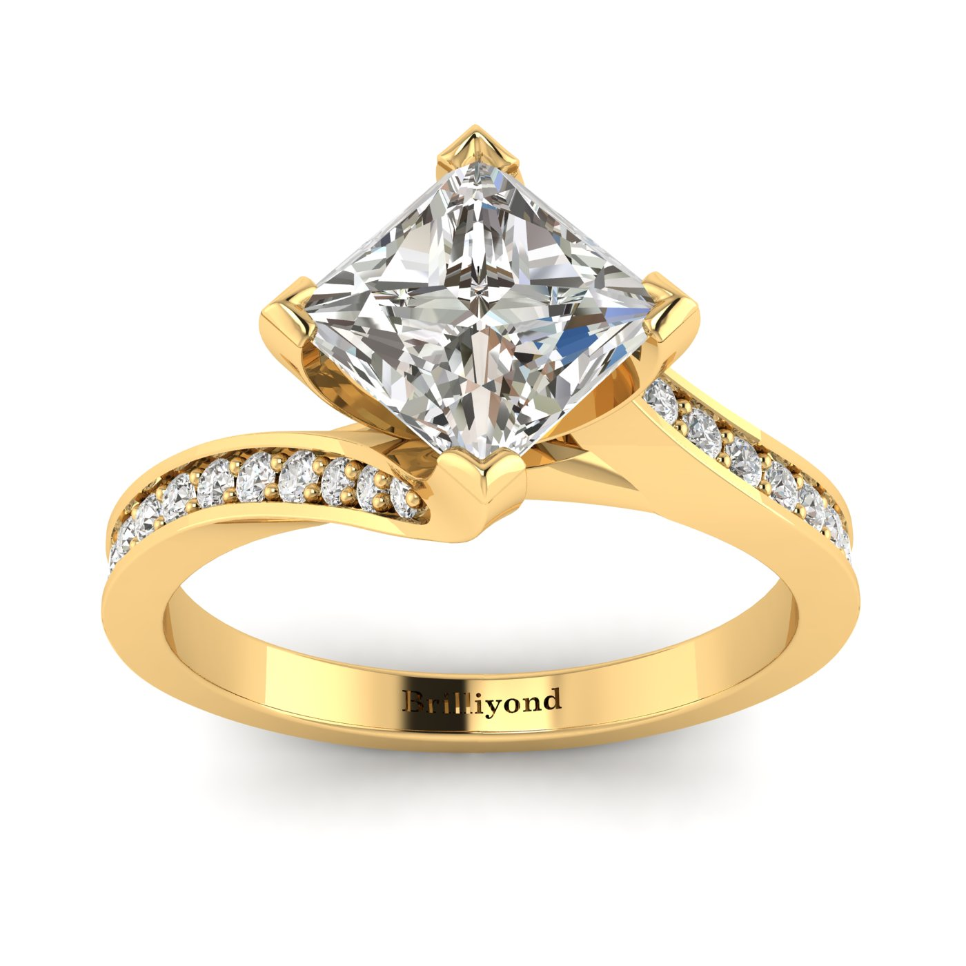 White Sapphire Yellow Gold Cushion Cut Engagement Ring Luxy_image1