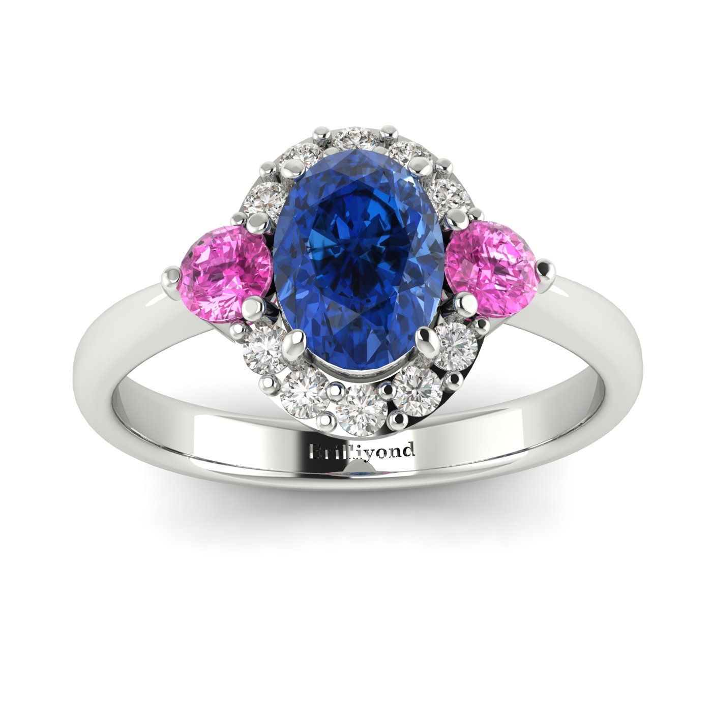 Diamond Accented Three Stone Sapphire Engagement Ring in 18k White Gold Setting