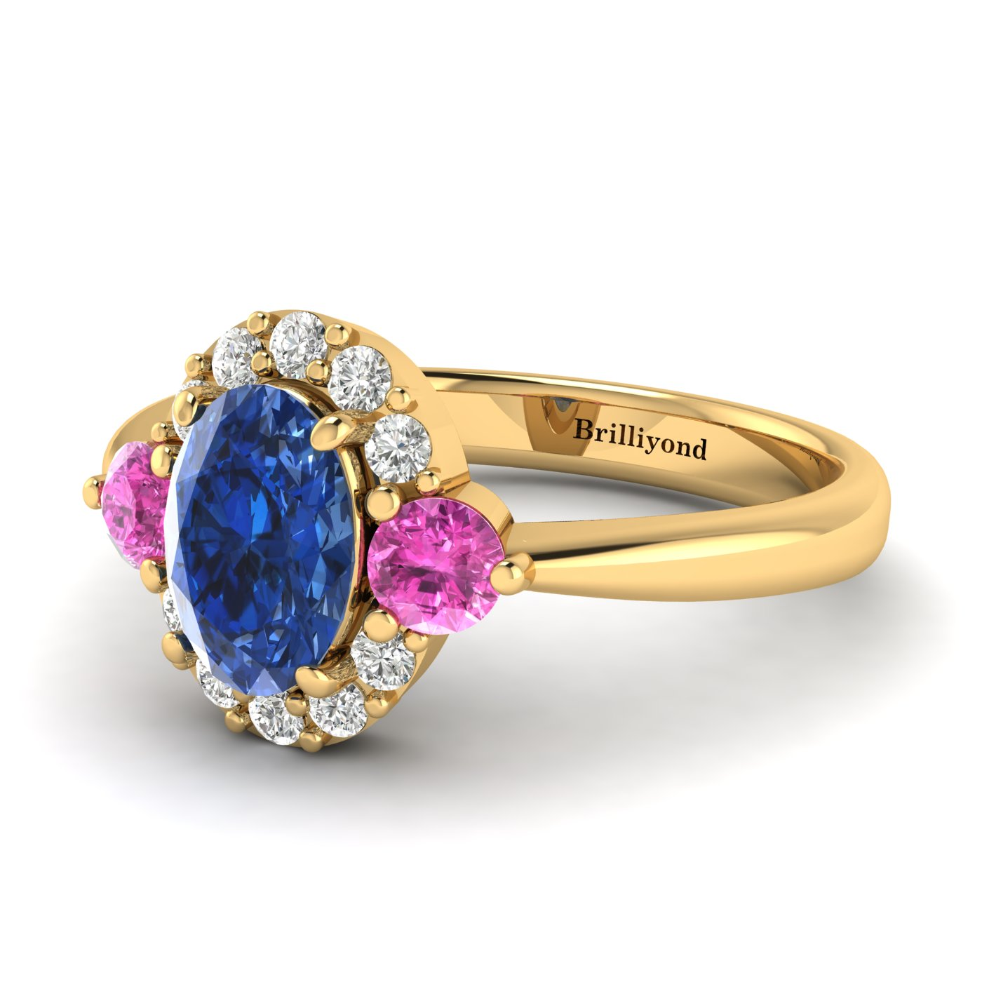 Blue Sapphire Yellow Gold Colour Accented Engagement Ring Birdberry_image1