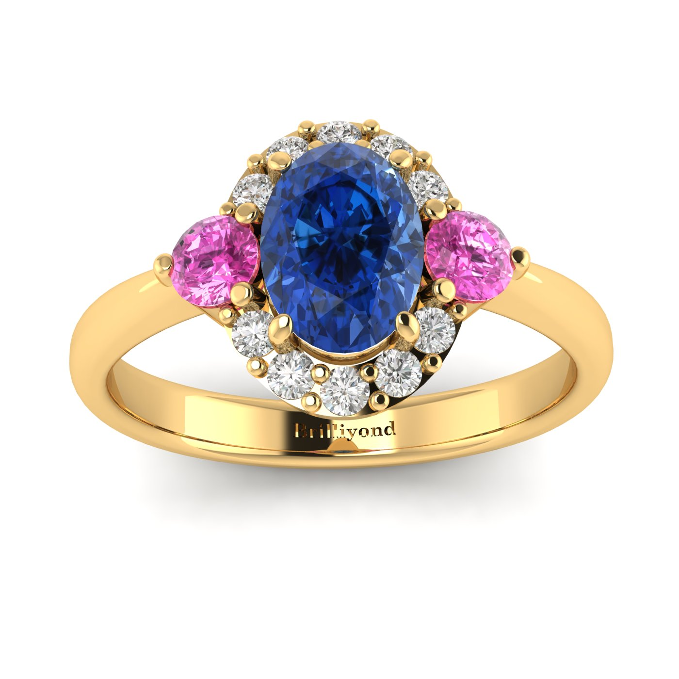 Blue Sapphire Yellow Gold Colour Accented Engagement Ring Birdberry_image2