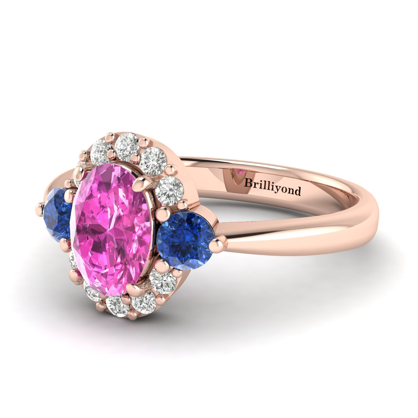 Pink Sapphire Rose Gold Colour Accented Engagement Ring Birdberry_image1