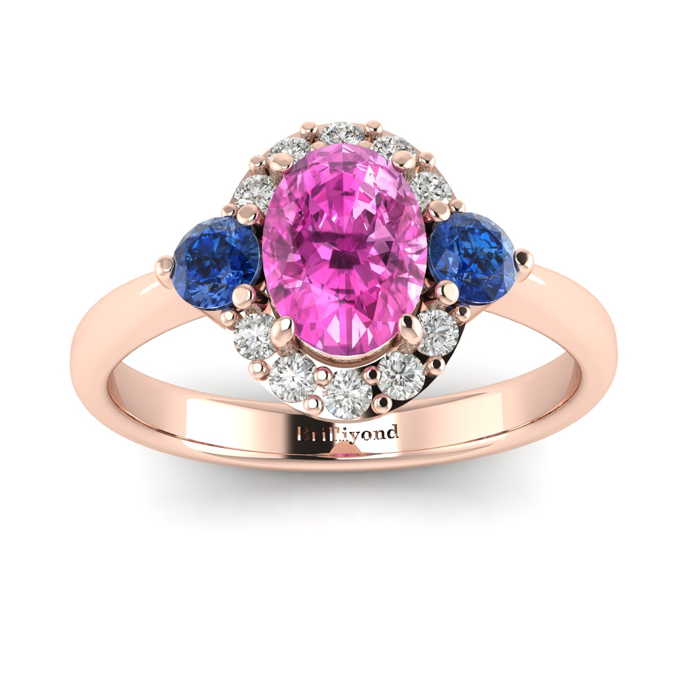 Pink Sapphire Rose Gold Colour Accented Engagement Ring Birdberry_image2