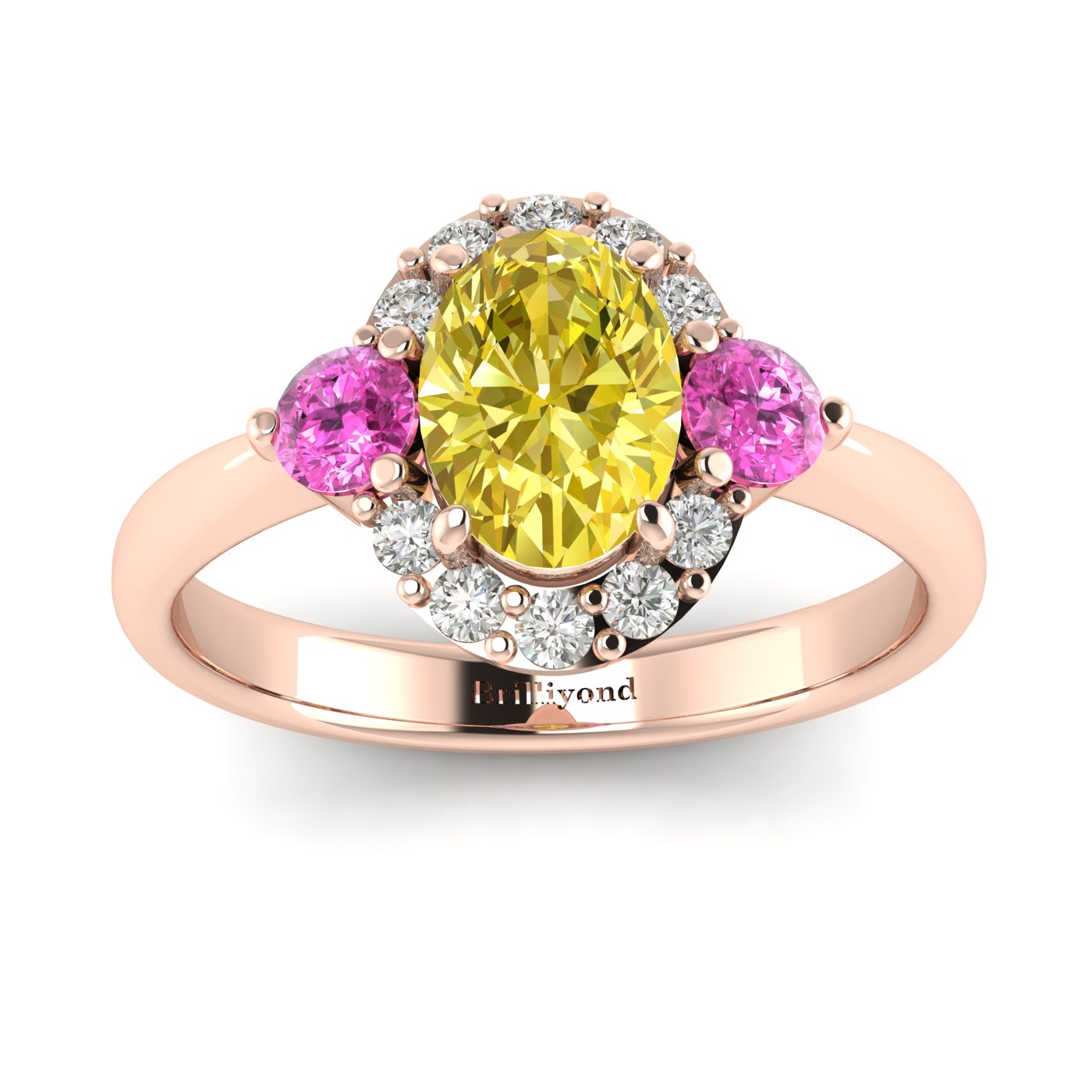Yellow Sapphire Rose Gold Colour Accented Engagement Ring Birdberry_image1