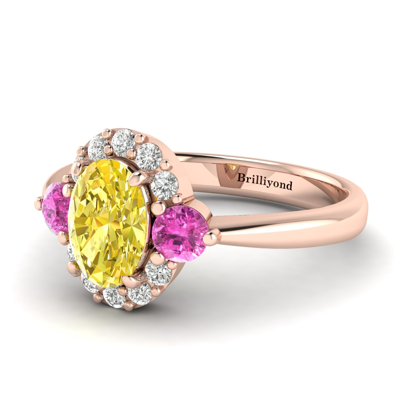 Yellow Sapphire Rose Gold Colour Accented Engagement Ring Birdberry_image2