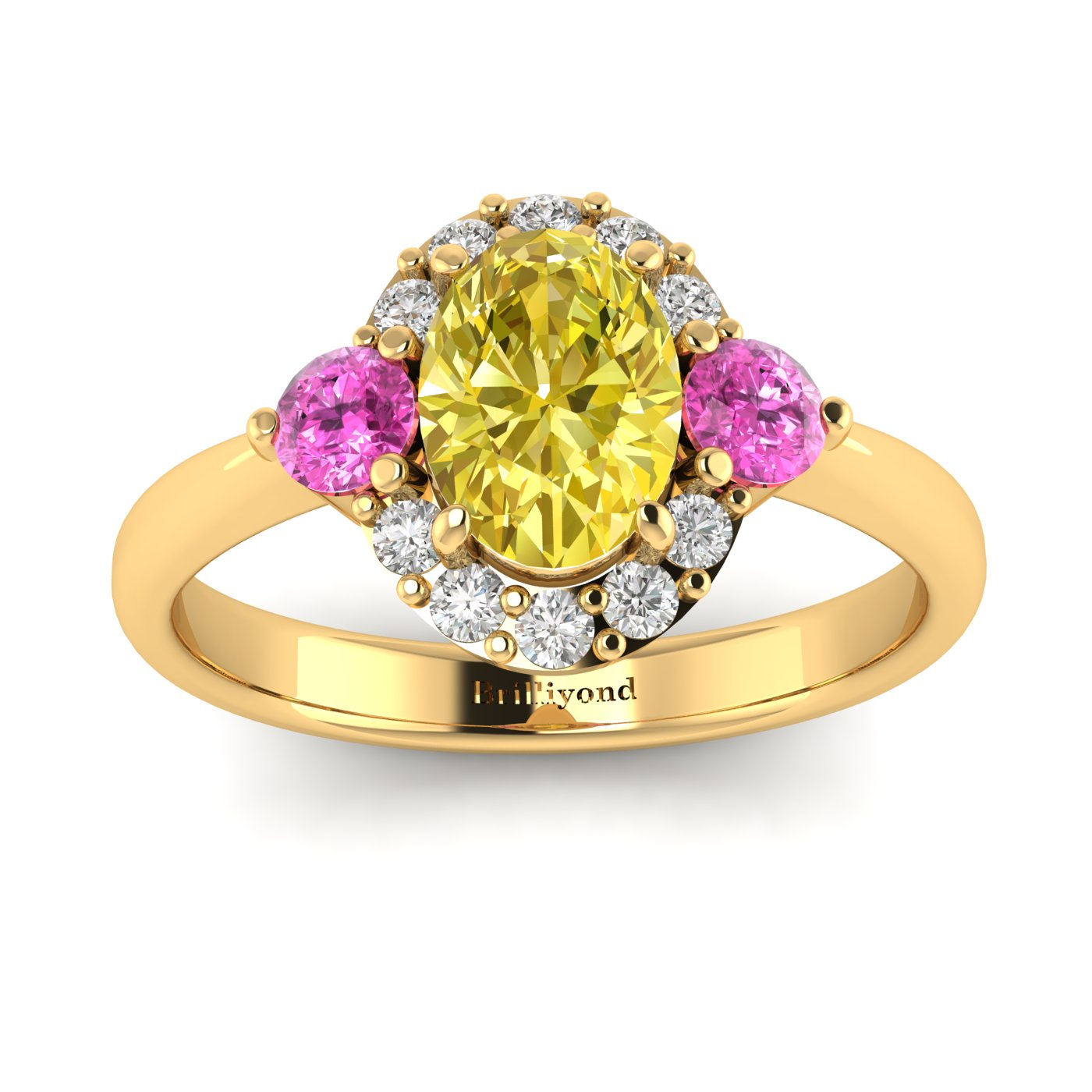 Yellow Sapphire Yellow Gold Colour Accented Engagement Ring Birdberry_image2
