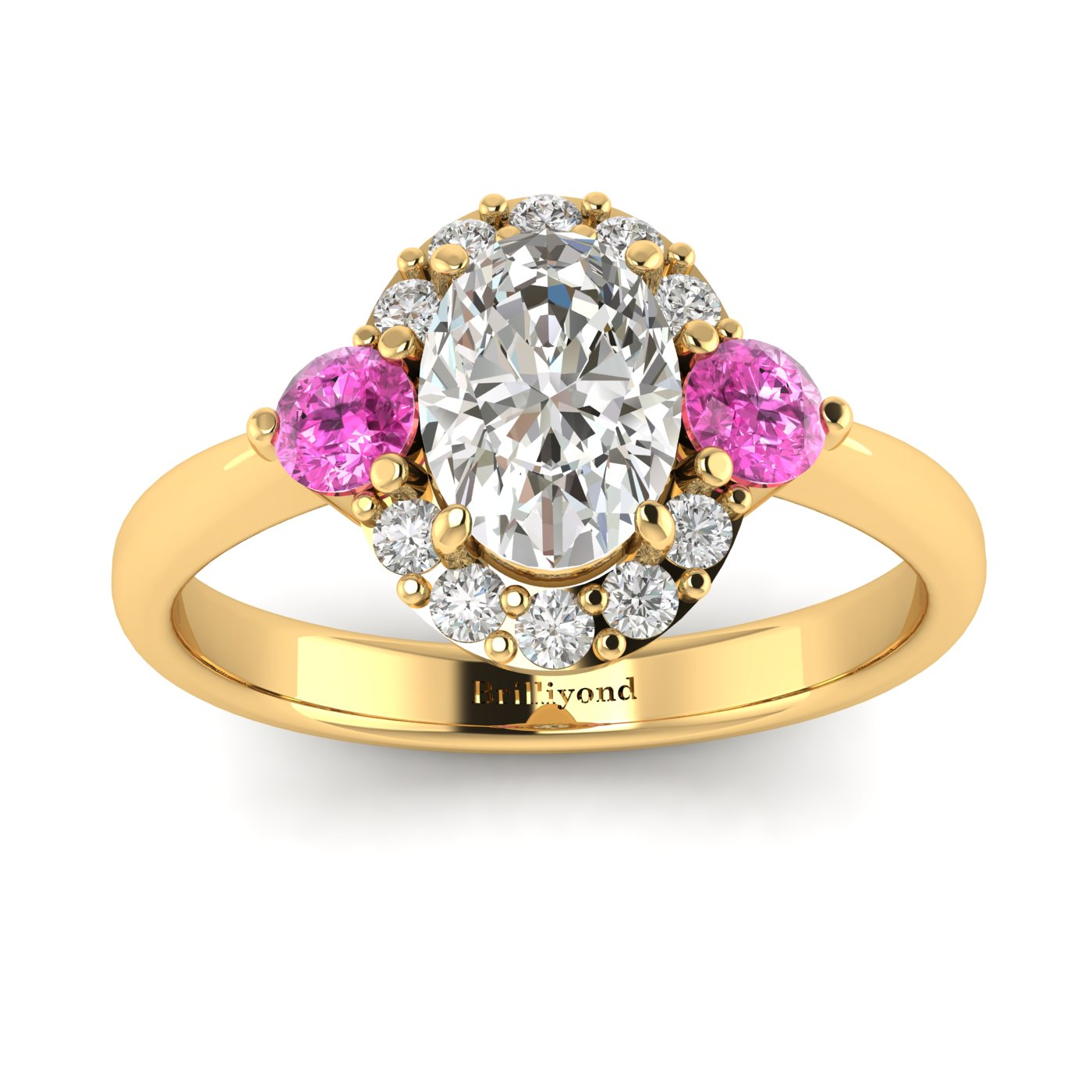Diamond Yellow Gold Colour Accented Engagement Ring Birdberry_image1