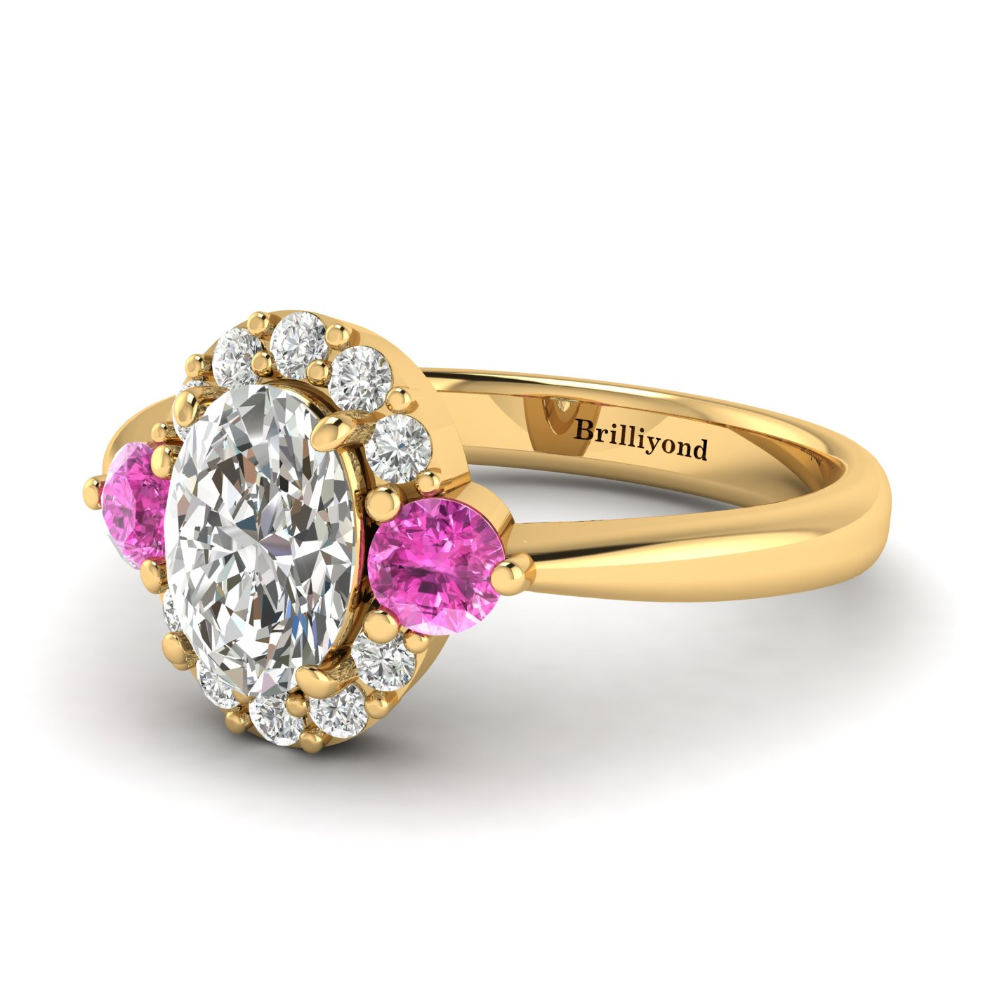 Diamond Yellow Gold Colour Accented Engagement Ring Birdberry_image2
