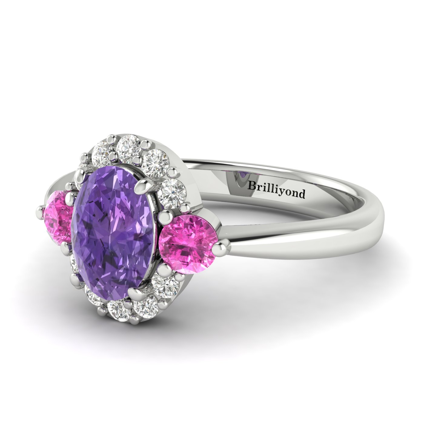 Amethyst White Gold Colour Accented Engagement Ring Birdberry_image1