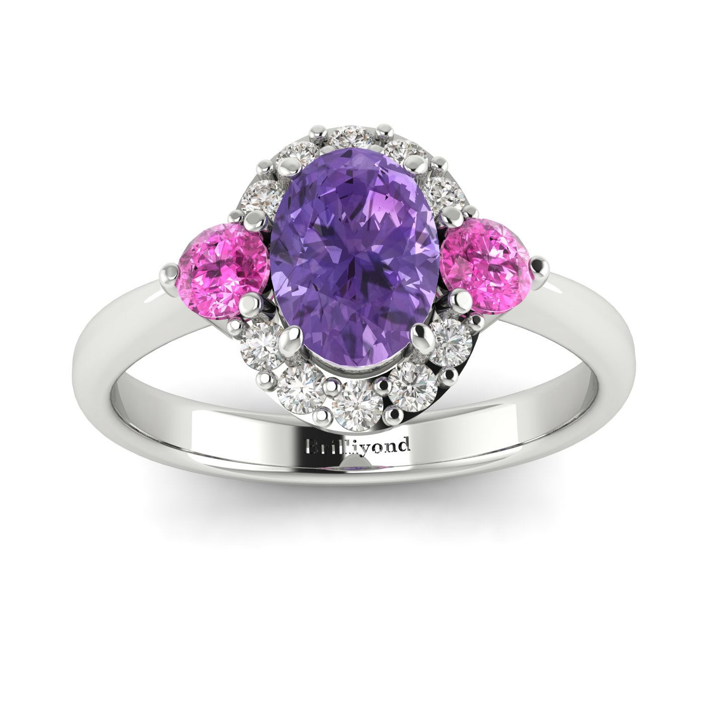 Amethyst White Gold Colour Accented Engagement Ring Birdberry_image2