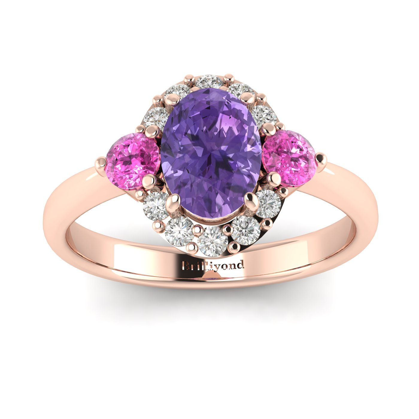 Amethyst Rose Gold Colour Accented Engagement Ring Birdberry_image1