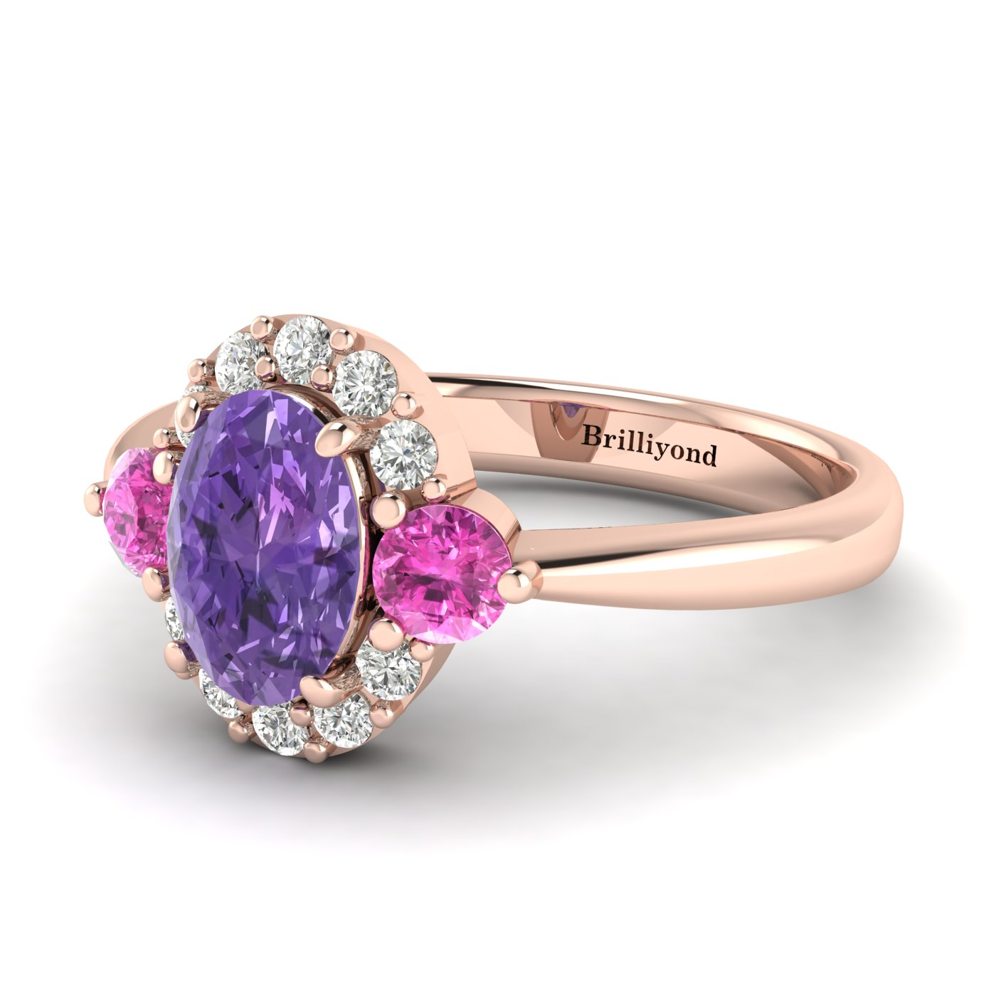 Amethyst Rose Gold Colour Accented Engagement Ring Birdberry_image2