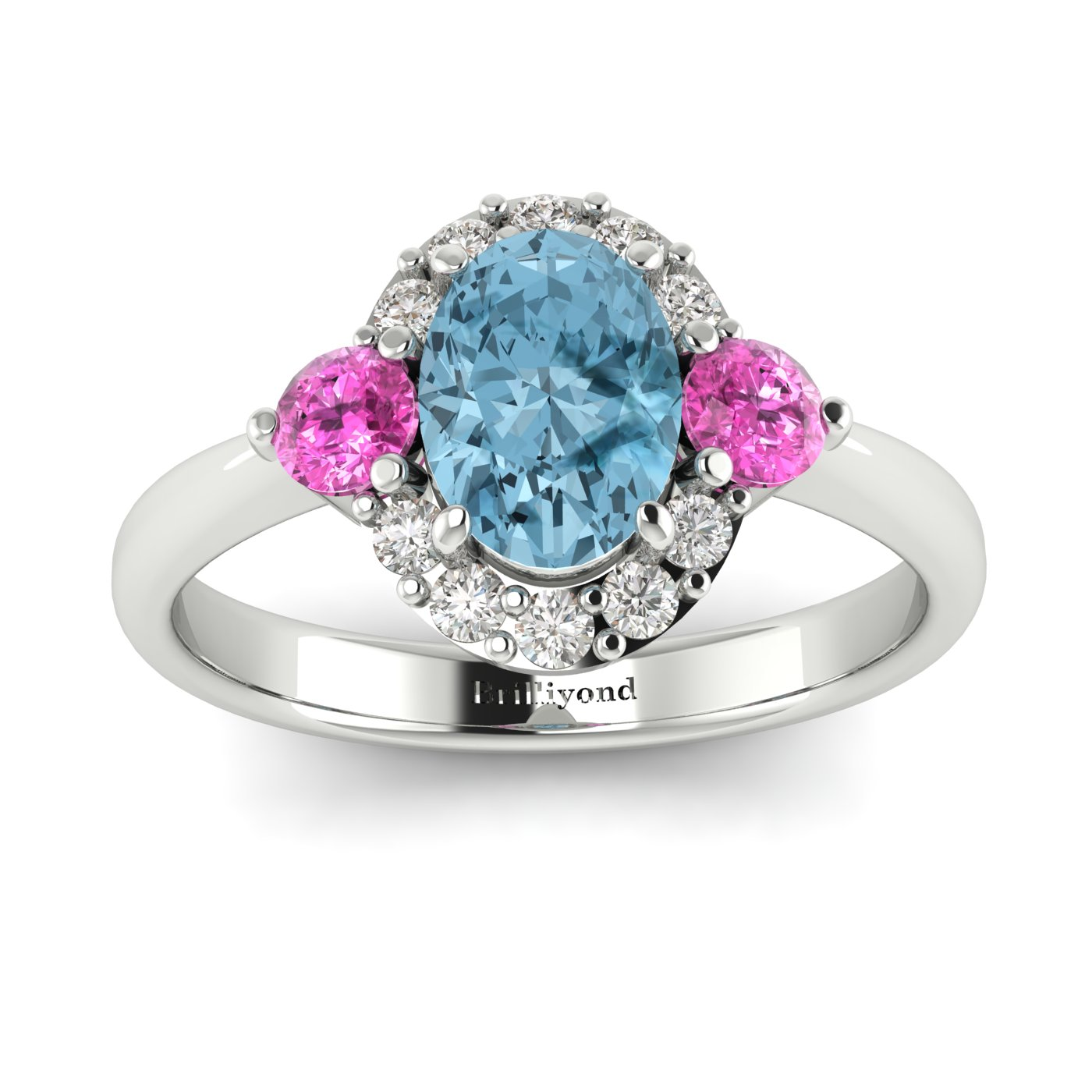 Aquamarine White Gold Colour Accented Engagement Ring Birdberry_image1