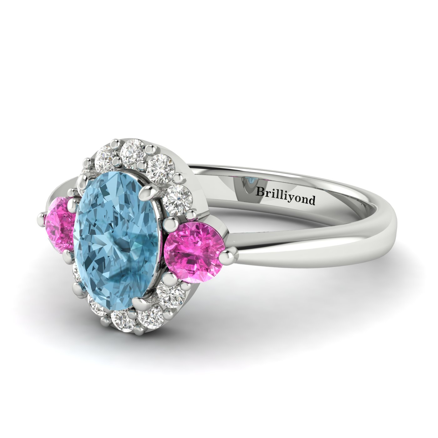 Aquamarine White Gold Colour Accented Engagement Ring Birdberry