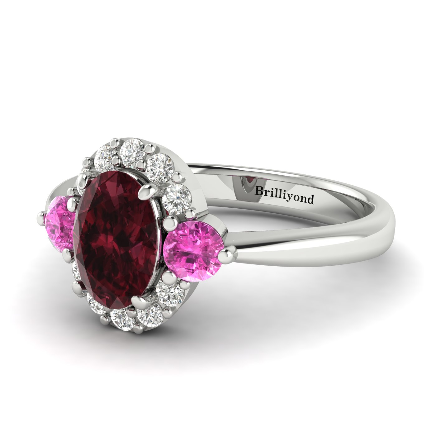 Garnet White Gold Colour Accented Engagement Ring Birdberry_image1