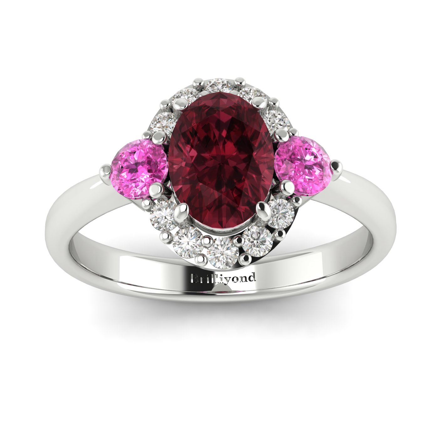 Garnet White Gold Colour Accented Engagement Ring Birdberry_image2
