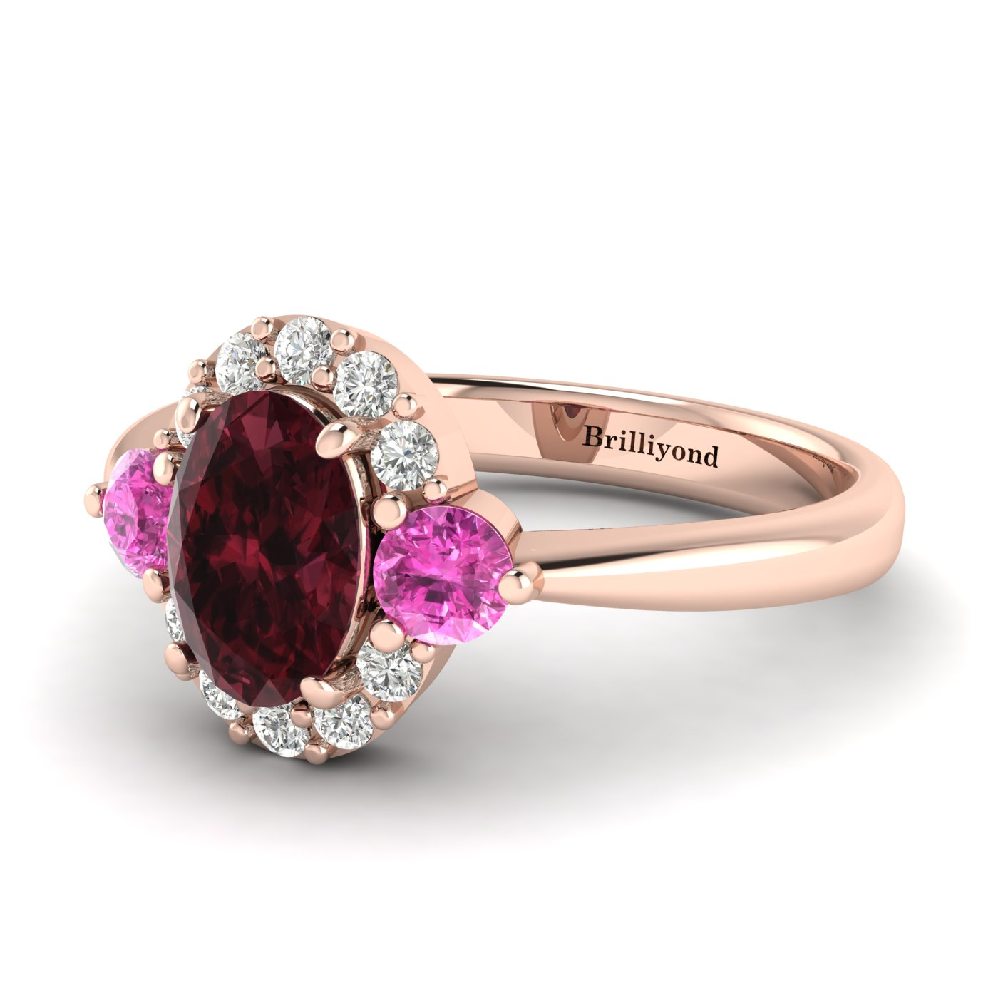 Garnet Ring Rose Gold Colour Accented Birdberry