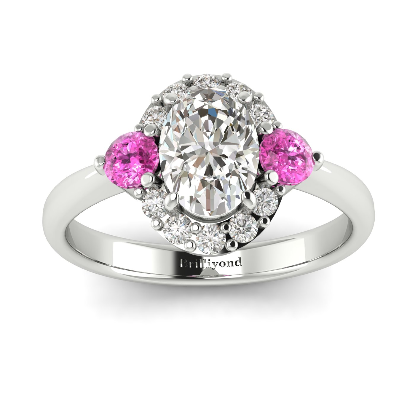White Sapphire White Gold Colour Accented Engagement Ring Birdberry_image1