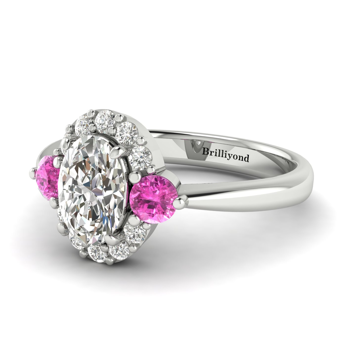 White Sapphire White Gold Colour Accented Engagement Ring Birdberry_image2