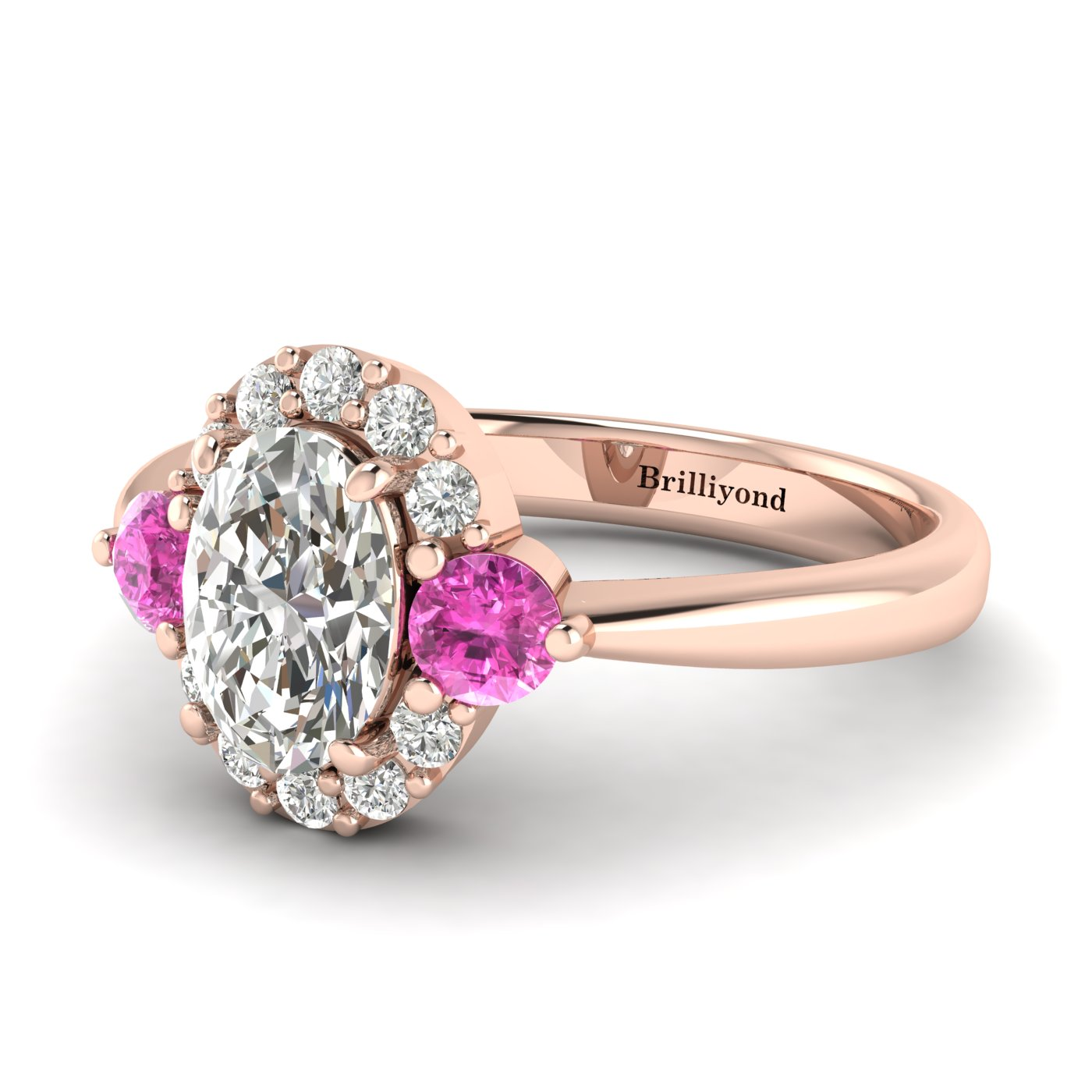 White Sapphire Rose Gold Colour Accented Engagement Ring Birdberry_image1