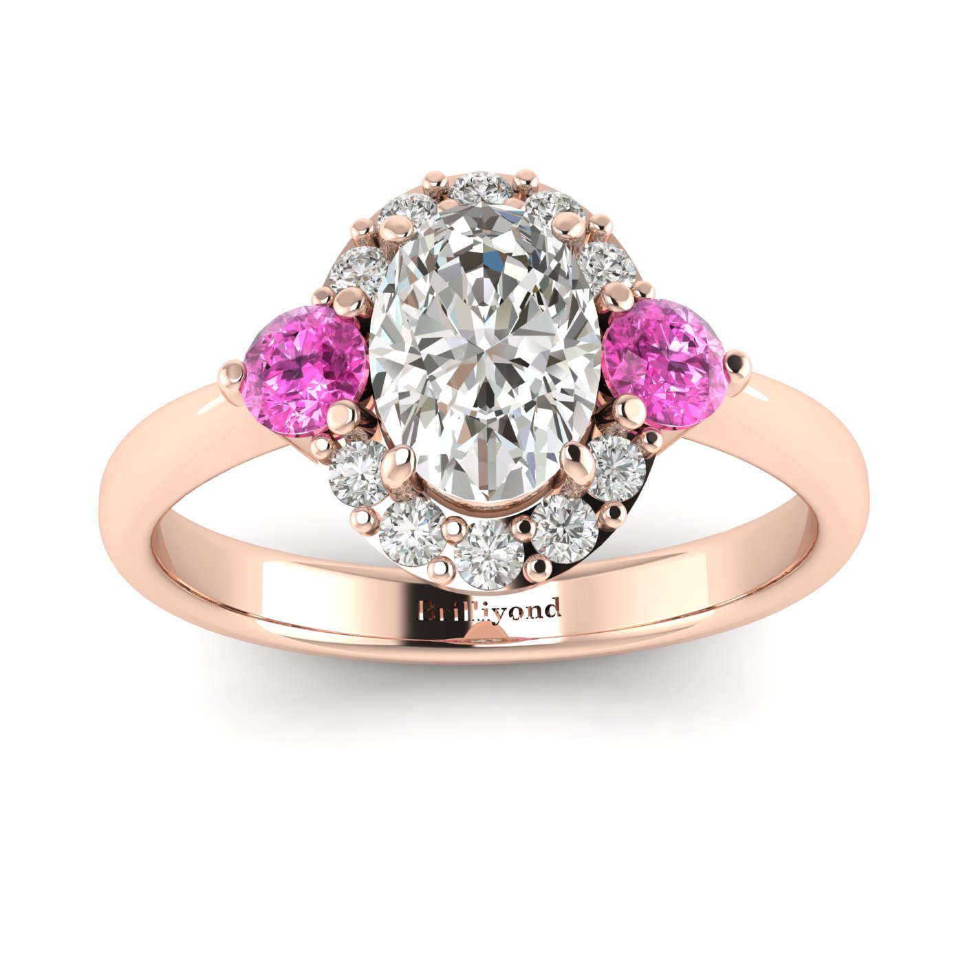White Sapphire Rose Gold Colour Accented Engagement Ring Birdberry_image2