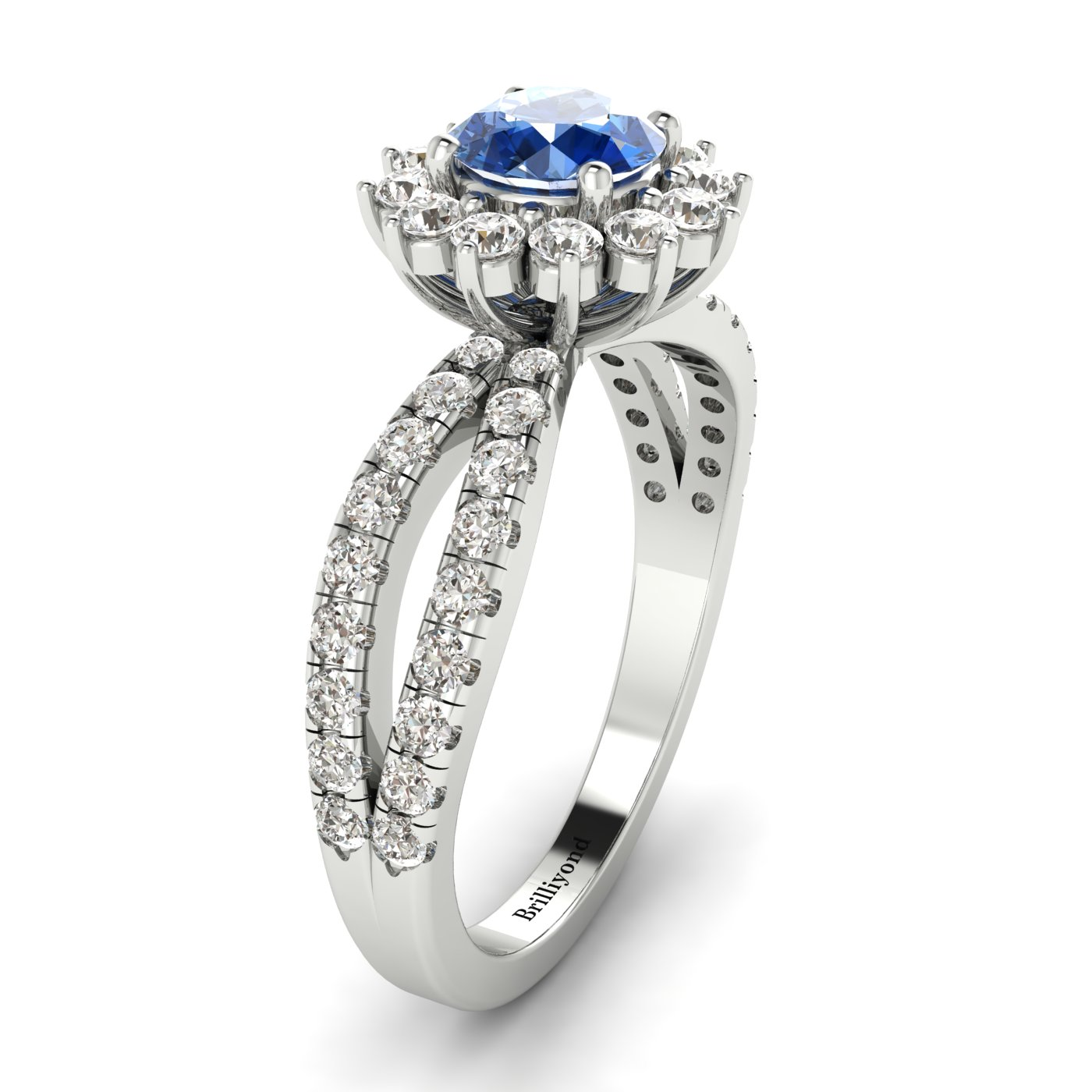 Blue Sapphire White Gold Halo Engagement Ring Nefertari_image2