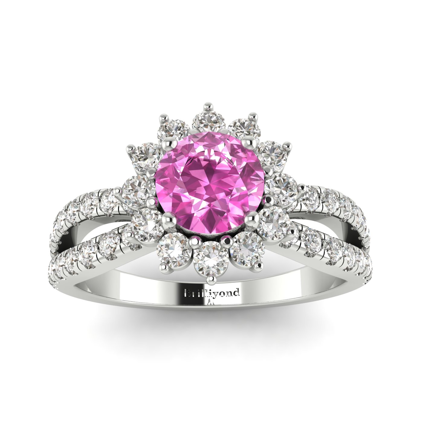 Pink Sapphire White Gold Halo Engagement Ring Nefertari_image2