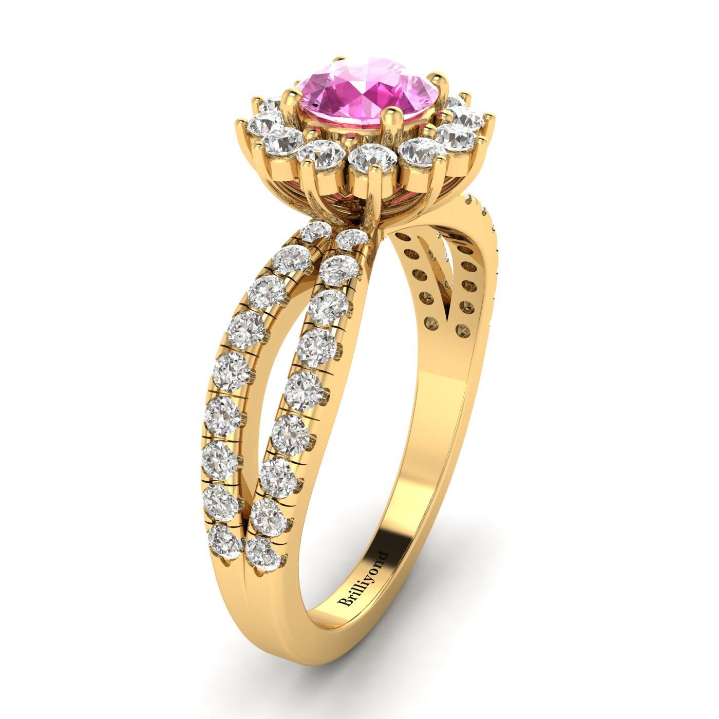 Pink Sapphire Yellow Gold Halo Engagement Ring Nefertari_image1