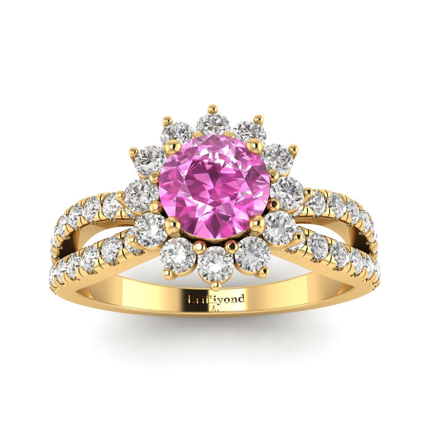 Pink Sapphire Yellow Gold Halo Engagement Ring Nefertari_image2