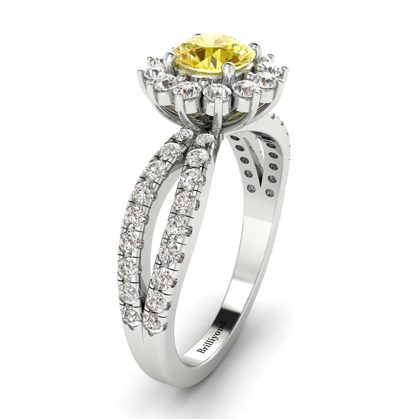 Yellow Sapphire White Gold Halo Engagement Ring Nefertari_image2
