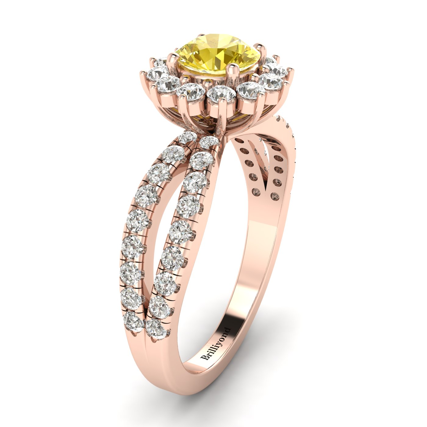 Yellow Sapphire Rose Gold Halo Engagement Ring Nefertari_image1