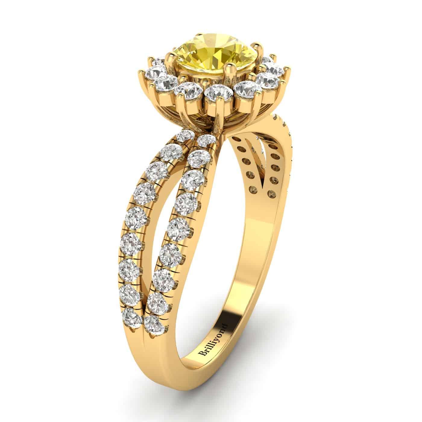 Yellow Sapphire Yellow Gold Halo Engagement Ring Nefertari_image2