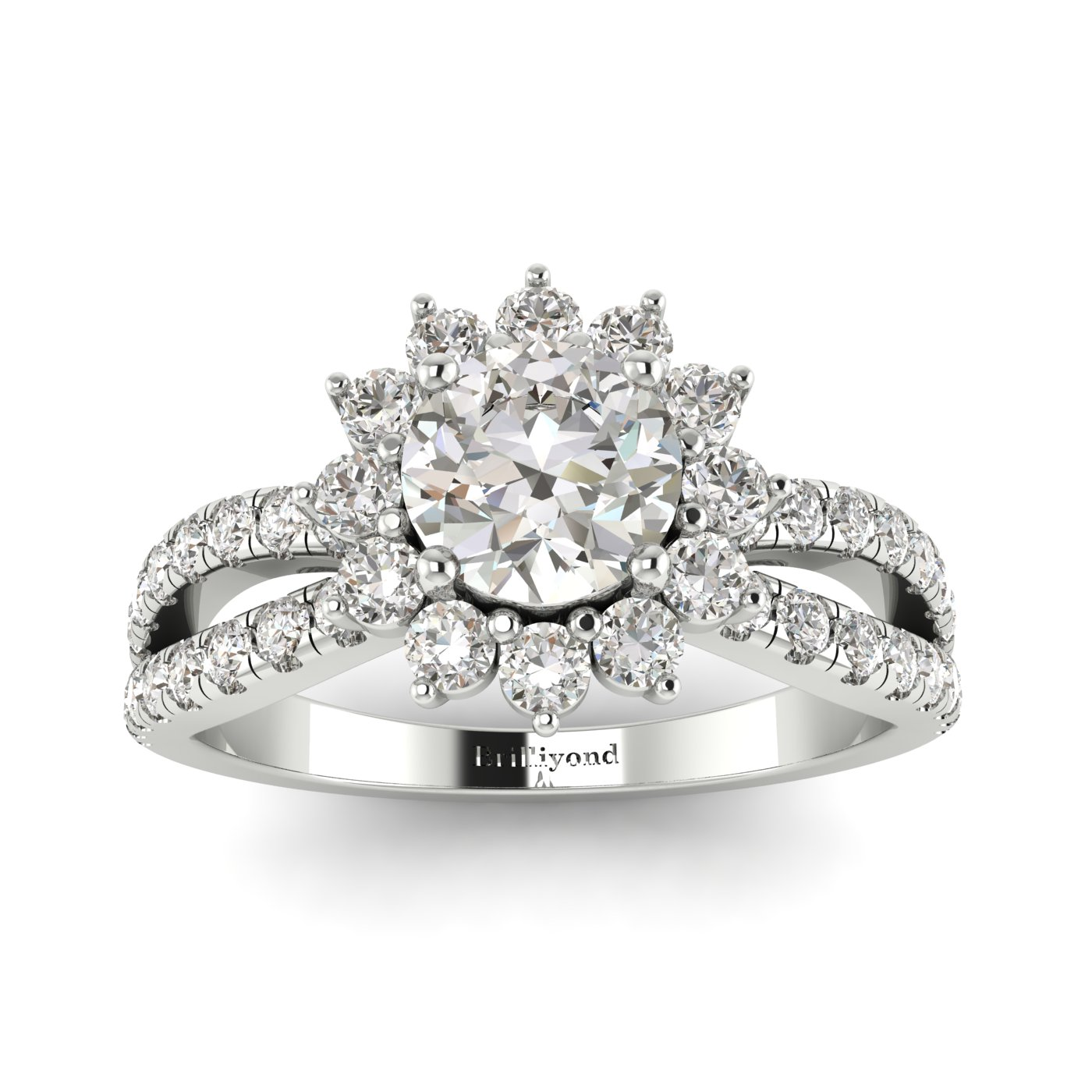 Diamond White Gold Halo Engagement Ring Nefertari_image2