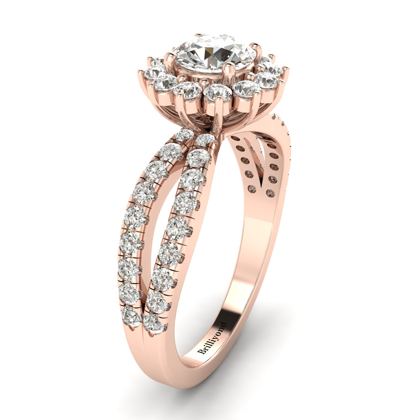 Diamond Rose Gold Halo Engagement Ring Nefertari_image2