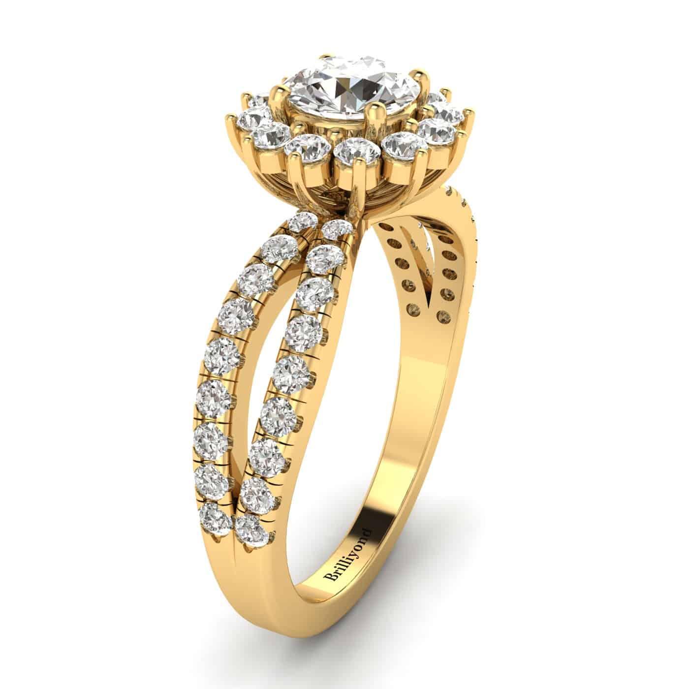 Diamond Yellow Gold Halo Engagement Ring Nefertari_image1