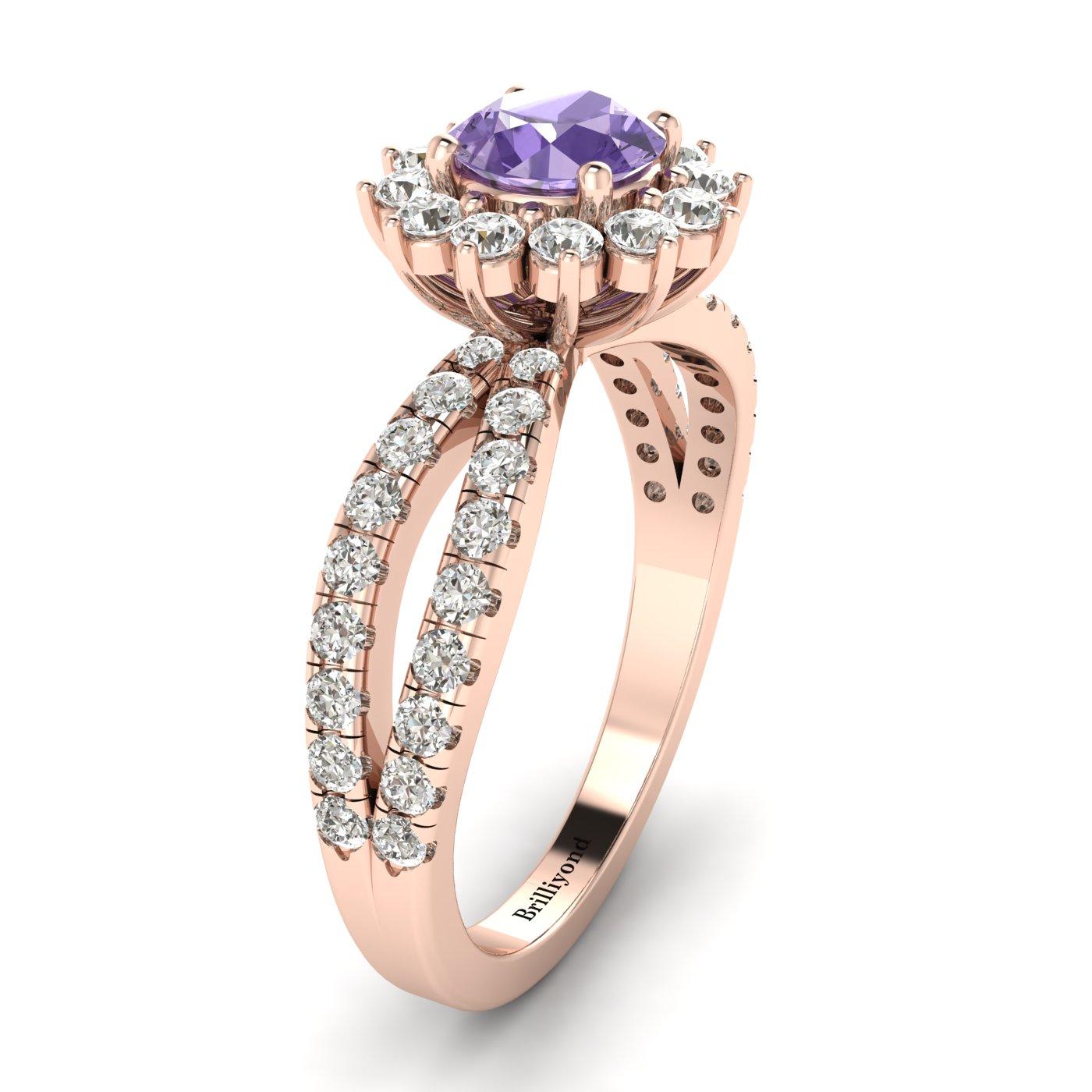 Amethyst Rose Gold Halo Engagement Ring Nefertari_image1