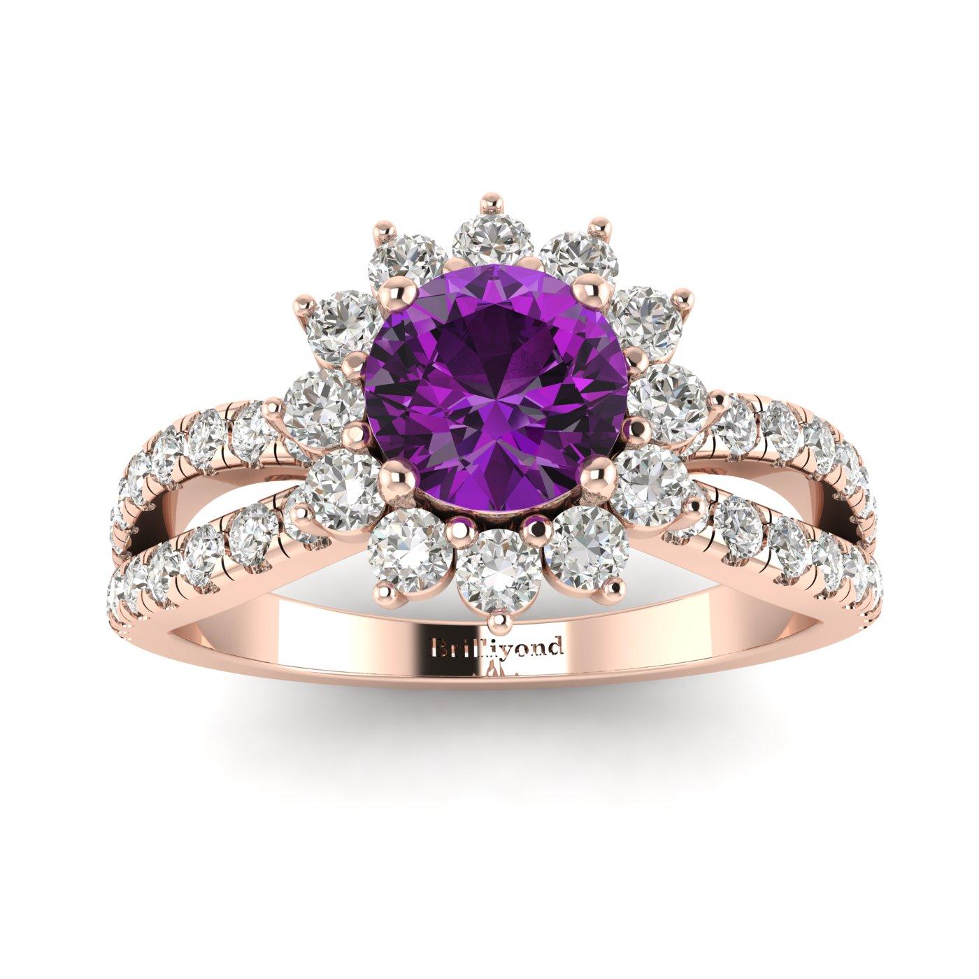 Amethyst Rose Gold Halo Engagement Ring Nefertari_image2