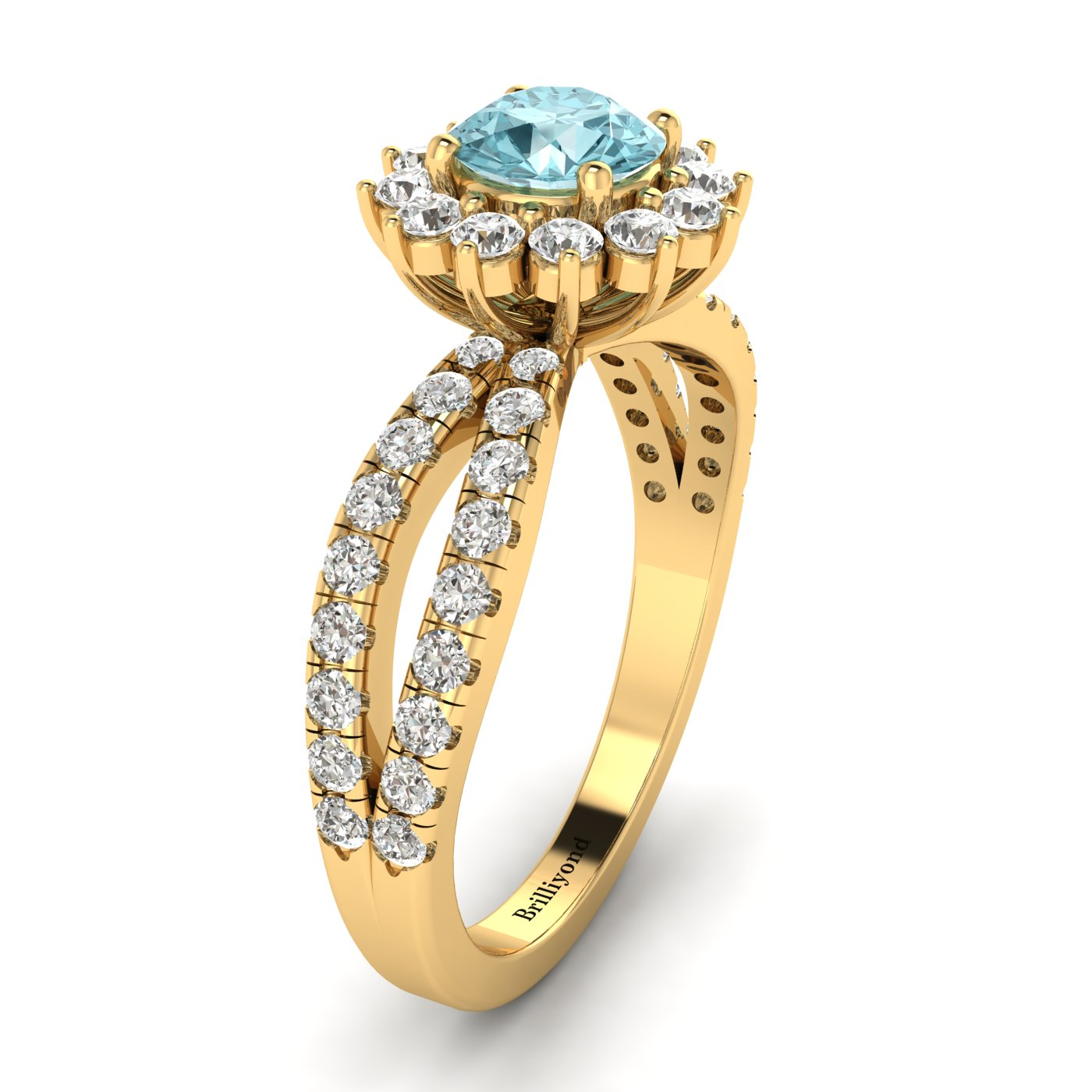 Aquamarine Yellow Gold Halo Engagement Ring Nefertari_image1