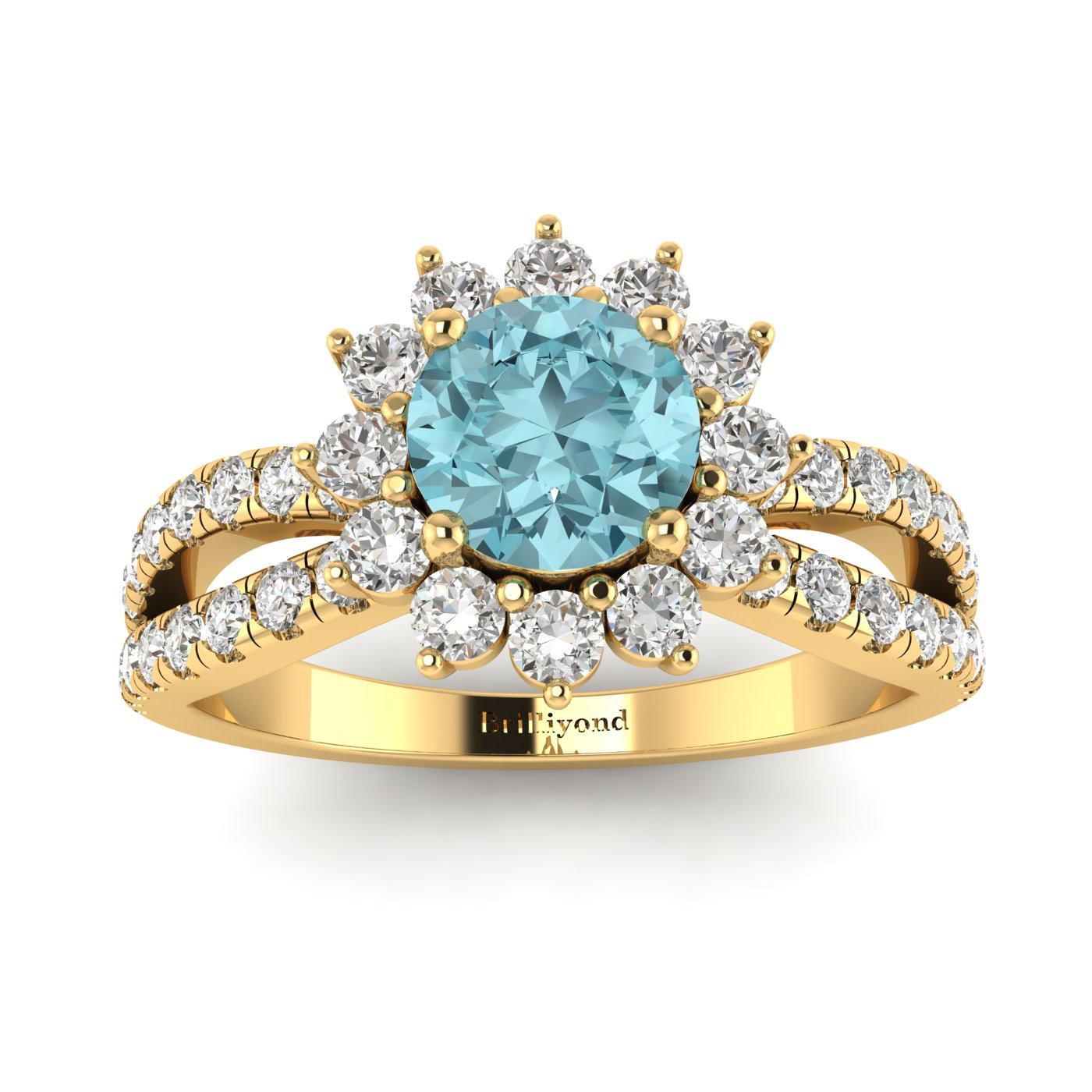 Aquamarine Yellow Gold Halo Engagement Ring Nefertari_image2